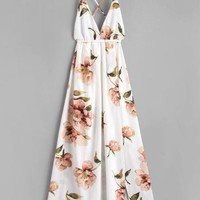 Slit Floral Criss Cross Maxi Dress