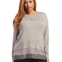 Lace Trim Long Sleeve Top   Wet Seal+