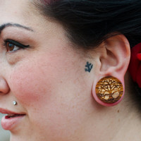 """Tree of Life Olivewood Wooden Plugs PAIR 0g 00g 000g 7/16"""" (11mm) 1/2"""" (13mm) 9/16"""" (14mm) 5/8"""" (16mm) 3/4"""" 7/8"""" 1"""" and up  Wood Ear Gauges"""