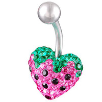 Girls Strawberry Heart Non-Dangle Light Rose Crystal Belly Button Ring [Gauge: 14G - 1.6mm / Length: 10mm] 316L Surgical Steel & Crystal