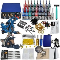 Complete Tattoo Kit 2 Top Machines 28 Color Inks Power Shipping From USA Mgt-16