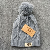 Ugg Autumn Winter Soft Knit Beanies Hat Gray