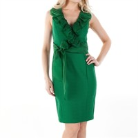 NUE by Shani Sleeveless Textured Dress with Neck Ruffle and Self Tie Belt at Von Maur