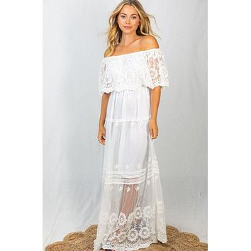 Absolutely Stunning White Off-The-Shoulder Maxi Dress