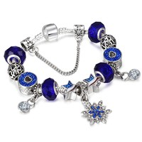SPINNER America Flag Diy Charm Bracelet with Snowflake Dangle Charm Blue Color Women Pandora Bracelet Jewelry