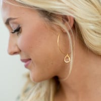 Betsy Pittard Designs Wire Hoop Stone Earring - Champagne
