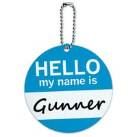 Gunner Hello My Name Is Round ID Card Luggage Tag