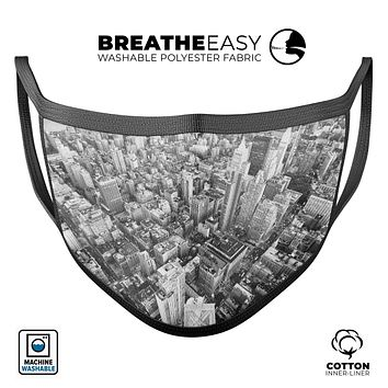 Aerial CityScape Black and White - Made in USA Mouth Cover Unisex Anti-Dust Cotton Blend Reusable & Washable Face Mask with Adjustable Sizing for Adult or Child