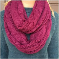 Cable Knit Thick Infinity Scarf - BURGUNDY - Cable Knit Thick Infinity Scarf - BURGUNDY