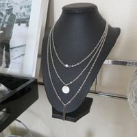 Silver Tiered Chain necklace with Vertical Bar and Coin Charm
