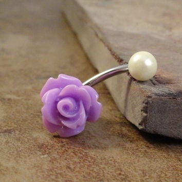 Lavender Rose Flower Belly Button Ring Purple Jewelry