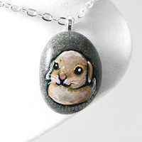 Baby Bunny Necklace, Rabbit Jewelry, Hand Painted Rock, Beach Stone, Pet Portrait, Memorial Gift for Her, Brown Rabbit, Mini Lop