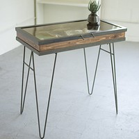 Display Table With Hinged Glass Top ~ Large