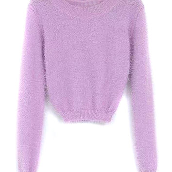 Purpe Mohair Long Sleve Cropped Sweater