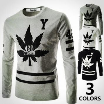 Newest Quality Autumn Long Sleeve Printed T-shirt Men [10312516739]