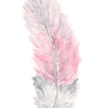 Nature, feather painting, watercolor feathers, watercolor art, feather art, pink painting, bird painting,  feather print, 5X7 giclee print