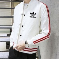 Adidas Popular Men Women Long Sleeve Zipper Cardigan Sweatshirt Jacket Coat Windbreaker