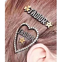 DIOR Women Fashion New Star More Diamond Letter Love Heart Hair Clip Accessory