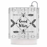 "Famenxt ""Boho Good Vibes"" Black Gray Shower Curtain"