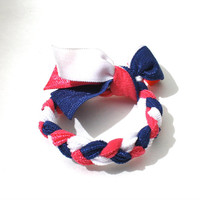 July 4th Accessory - Red, White, Blue Hair Tie - Braided Patriotic Hairtie - Nautical Hair Band - School Color Hair Ties by Preppy Pieces