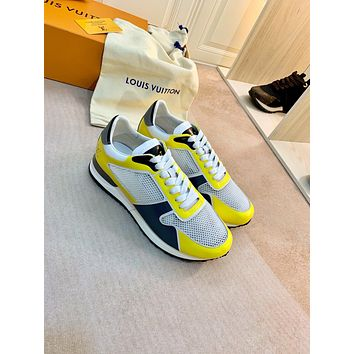 2021 LV Louis Vuitton Women Leather low Top Sneakers Shoes YELLOW