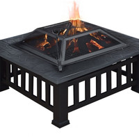 """TMS® 32"""" Outdoor Metal Firepit Backyard Patio Garden Square Stove Fire Pit W/Cover"""