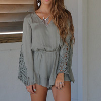 Morro Bay Olive Long Sleeve Romper