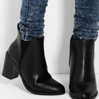 Wisconson Black Block Heel Ankle Boots | Pink Boutique