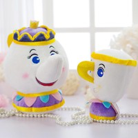 Candice guo! cute plush toy Q version Beauty and the Beast creative teapot teacup cup girls kids birthday Christmas gift 1pc