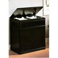 Espresso finish wood laundry basket hamper with linen pull out liner