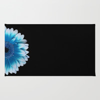 colored summer ~ blue and black gerbera  Area & Throw Rug by Steffi ~ findsFUNDSTUECKE