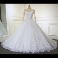 Hot Sale 3/4 Sleeves Lace Wedding Dress 2017 Wedding Gown Puffy Ball Gown Bridal Dress