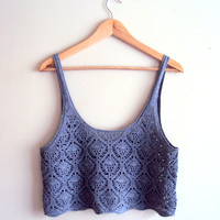 Crochet Cropped Top Tank Halter Boho Top Cotton Lace Top Gypsy Top Spring Summer Clothing Grey Festival Top Beachwear Swimsuit Coverup