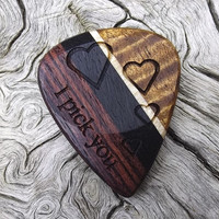 Handmade Premium Laser Engraved Multi-Wood Guitar Pick - Actual Pick Shown - No Stock Photos