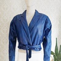 Vintage Cobalt Blue  Crop Leather Jacket