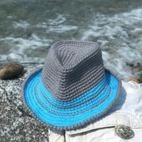 Summer Fedora Hat For Baby Toddler Boys Shower Gift Idea Photography Props Infant Boys Sun Hat Crochet Cotton Aqua Grey Beach Children Hats