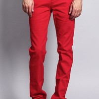 Men's Skinny Fit Colored Jeans (Red)