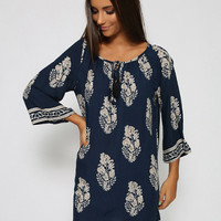Navy Blue Leaf Print Half Sleeve A-Line Mini Dress