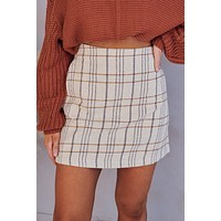 Dressed For Excellence Plaid Mini Skirt (Beige)
