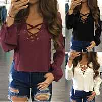 Rida Lace Up Blouse (White, Burgundy, Black)