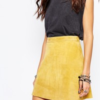 Reclaimed Vintage High Rise Mini Skirt In Real Suede