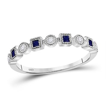 10k White Gold Princess Blue Sapphire Diamond Stackable Band Ring 1/8 Cttw