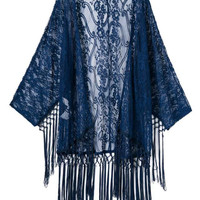 Ink Blue Tassels Cut Out Lace Kimono