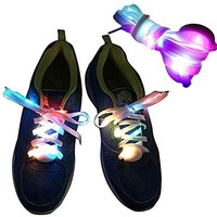 Jesauge 1 Pair of LED Light Up Waterproof shoelaces shoestrings for Dancing Hip-hop Cycling Running Hiking Skating Sport - Multicolor
