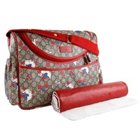 Gucci Duck Red Zip Supreme Print GG Canvas Diaper Bag Beige Baby Italy New