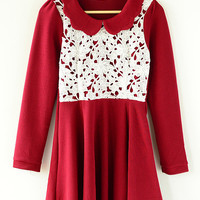 Long Sleeve Beaded Collar Lace Embroidered Long Sleeve A-Line Pleated Mini Dress