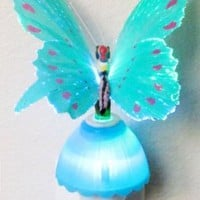 Butterfly Optic Fiber Color Changing Night Light Show - Blue