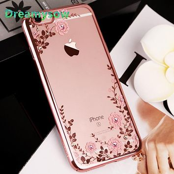 Crystal Clear Flowers Diamond Plating TPU Soft Case For iPhone XS MAX XR 6S 6 7 8 plus X 5S SE 5 XS Clear Phone Cover
