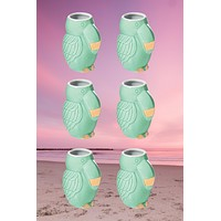 Green Toucan Shot Glass Set of 6 - Ceramic Trendy Chic Cup