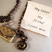 Letter Locket Necklace, My Sister My Friend I Love You Envelope Locket Necklace, Personalized Necklace, Sisters Necklace, Free Shipping USA